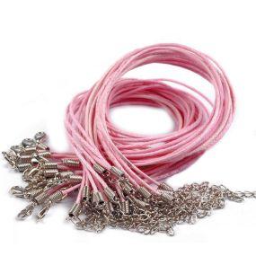 Voskovaná šňůra na krk s karabinkou růžová