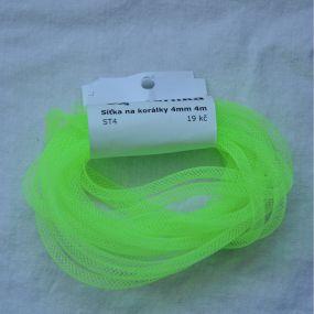 Síťka na korálky (modistická dutinka) 4mm 4m zářivě zelená