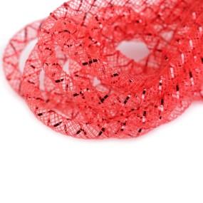 Síťka na korálky (modistická dutinka) 4mm 2m červená s červeným průtahem