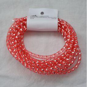 Síťka na korálky (modistická dutinka) 4mm 4m červená s průtahem
