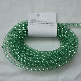 Síťka na korálky (modistická dutinka) 4mm 4m tm.zelená s průtahem