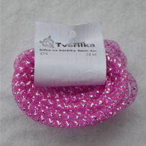 Síťka na korálky (modistická dutinka) 4mm 4m růžovofialová s průtahem