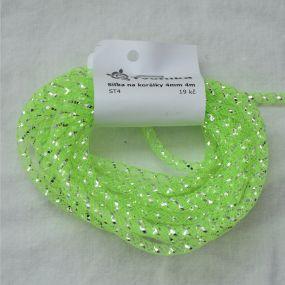 Síťka na korálky (modistická dutinka) 4mm 4m zářivě zelená s průtahem