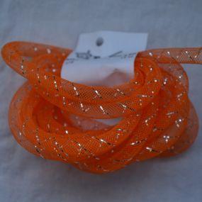 Síťka na korálky (modistická dutinka) 8mm 2,5m oranžová s průtahem