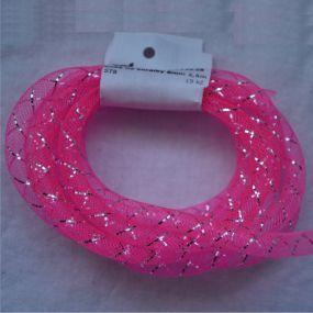 Síťka na korálky (modistická dutinka) 8mm 2,5m zářivě růžová s průtahem