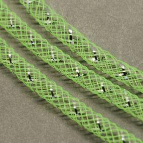 Síťka na korálky (modistická dutinka) 8mm 2,5m zářivě zelená s průtahem