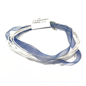 Šňůra na krk se zapínáním (SZA) modrobílá 1 ks