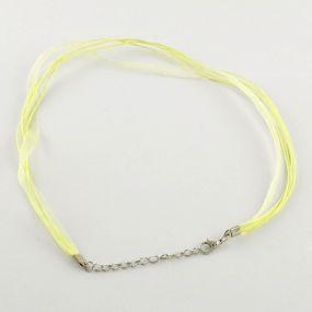 Šňůra na krk se zapínáním (SZA) světle žlutá 1 ks
