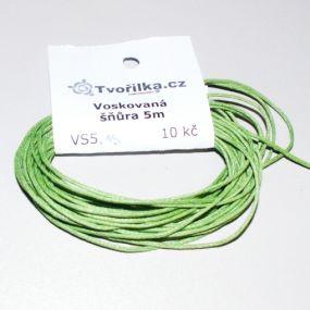 Voskovaná šňůra 1mm 5m světle zelená