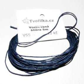 Voskovaná šňůra 1mm 5m tmavě modrá