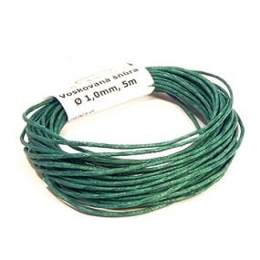 Voskovaná šňůra 1mm 5m brčálově zelená