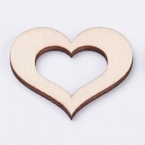 Dřevěný výřez srdce obrys 35x40mm